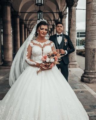 Designer A linie Hochzeitskleider Mit Ärmel   Brautkleider mit Spitze_5