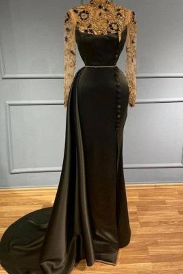 Schwarzes Abendkleid Lang mit Ärmel | Abiballkleider mit Glitzer