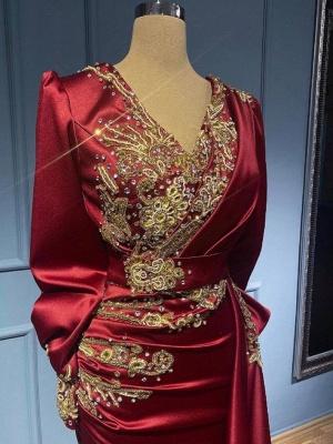 Rote Abendkleider Mit Ärmel   Elegante Abiballkleider Lang Günstig_3