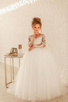 Blumenmädchenkleider Spitze Ärmel | Kinder Hochzeitskleider