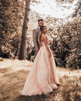 Schlichtes Brautkleider Blush Pink | Hochzeitskleider Mit Spitze_4
