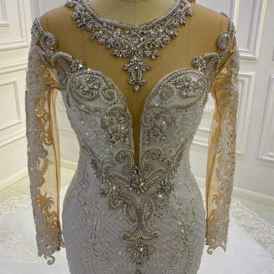 Extravagante Brautkleider Meerjungfrau Mit Ärmel   Hochzeitskleider Spitze_3