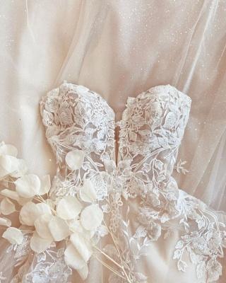 Designer Brautkleider A Linie Spitze | Schlichtes Hochzeitskleid_3