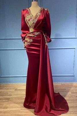 Rote Abendkleider Mit Ärmel | Elegante Abiballkleider Lang Günstig
