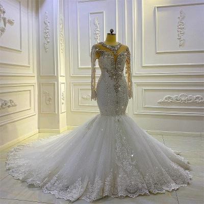 Extravagante Brautkleider Meerjungfrau Mit Ärmel   Hochzeitskleider Spitze_2
