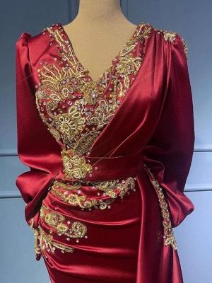 Rote Abendkleider Mit Ärmel   Elegante Abiballkleider Lang Günstig_4