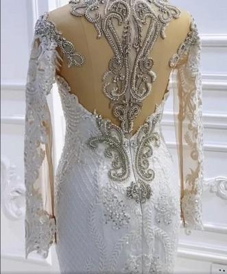 Extravagante Brautkleider Meerjungfrau Mit Ärmel   Hochzeitskleider Spitze_4
