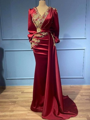 Rote Abendkleider Mit Ärmel   Elegante Abiballkleider Lang Günstig_2