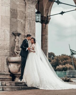 Designer A linie Hochzeitskleider Mit Ärmel   Brautkleider mit Spitze_2