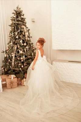 Schlichte Blumenmädchenkleider Creme | Kinder Hochzeitskleider