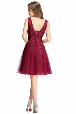 Simple evening dress wine red | Cocktail dresses lace cheap_11