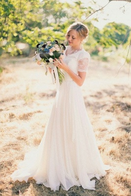 Elegant beach wedding dresses white with sleeves lace tulle wedding gowns with train_1