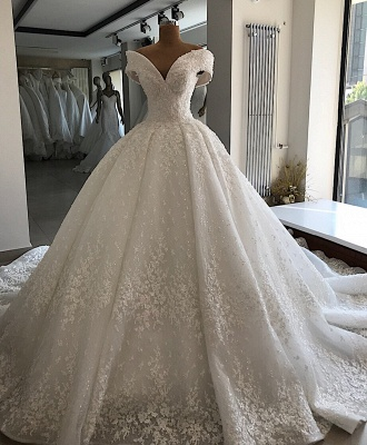 Luxury wedding dresses A line | White wedding dresses lace_2