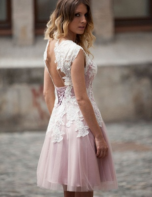 Pink Prom Dresses Short With Lace A Line Tulle Knee Length Evening Wear Party Dresses_2