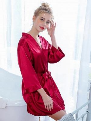 One piece silk pajamas women red | Girls pajamas summer_3