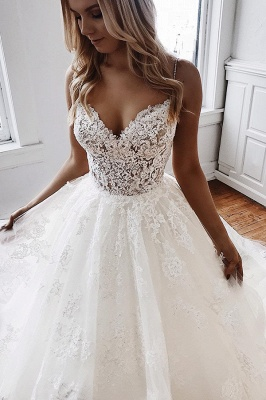 Cheap Sweetheart Lace A Line Wedding Dresses_3