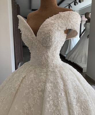 Luxury wedding dresses A line | White wedding dresses lace_4