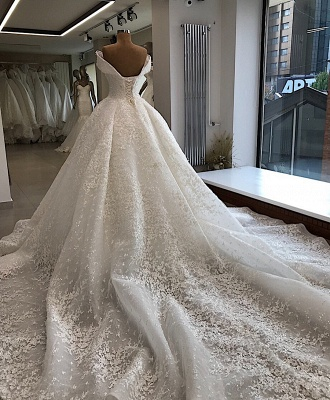 Luxury wedding dresses A line | White wedding dresses lace_3