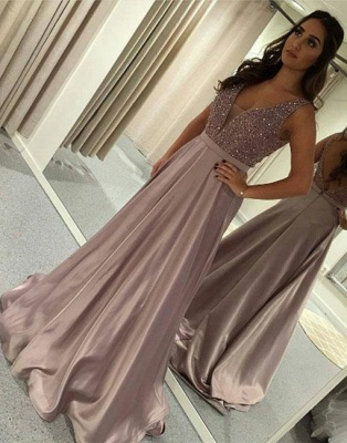 Designer evening dresses long cheap v neckline evening wear prom dresses online_1