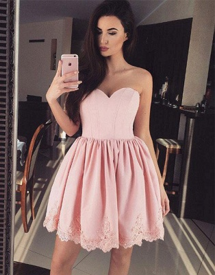Elegant cocktail dresses short pink with lace evening dress party dresses_1