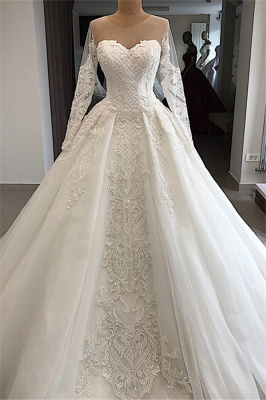 Designer Wedding Dresses With Sleeves | Lace wedding dresses A line_1