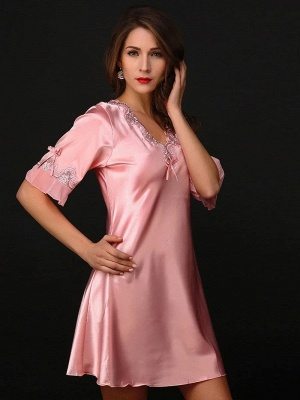 Pink one piece pajamas | Mey pajamas women_1