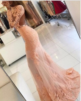 Pink Long Sleeves Evening Dresses With Lace Mermaid Evening Wear Prom Dresses_3