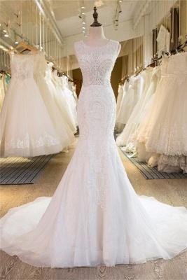 Brautmoden Meerjungfrau Weiße Brautkleider Schlepper Hochzeitskleider_1