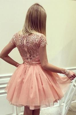 Designer Cocktail Dresses Short Pink A Line Evening Dresses Lace_2