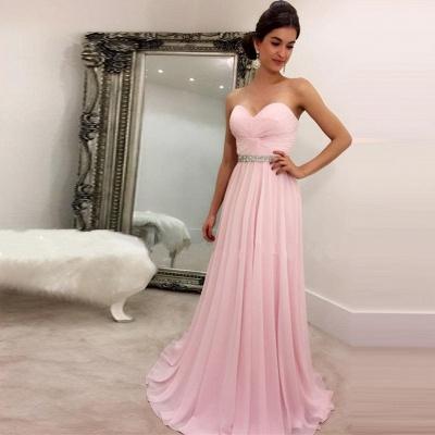 Rosa Abendkleider Lang Günstig Herz Ausschnitt Chiffon Abiballkleider Online_2