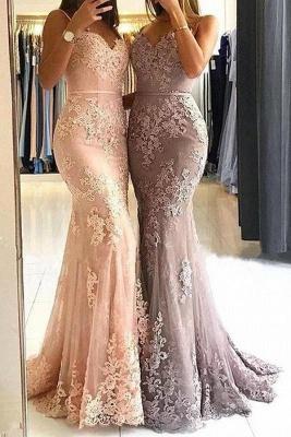 Elegante Abendkleider Lang mit Spitze Meerjungfrau Abiballkleider Günstig Online