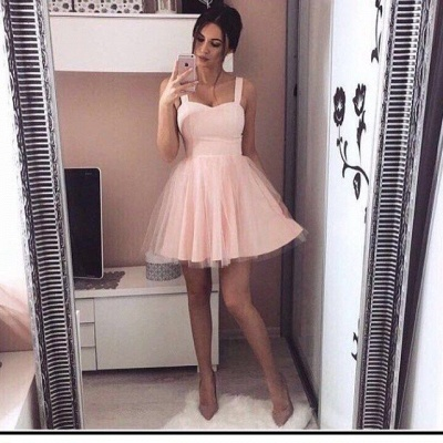 Cheap Prom Dresses Short Pink Straps Tulle Prom Dresses Party Dresses Online_2