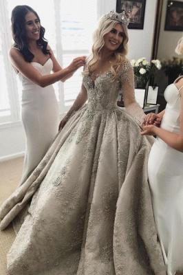 Luxus Brautkleider Mit Ärmel A Linie Hochzeitskleider Spitze Kaufen_1