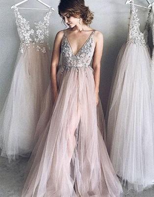 Cheap Evening Dresses Long V Neck Tulle Prom Dresses Online_1