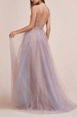 Elegant evening dresses long v neckline | Prom dresses with lace_3