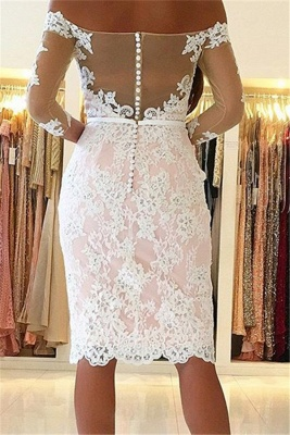 Cheap Cocktail Dresses Short With Sleeves Lace Evening Dresses Party Dresses_2