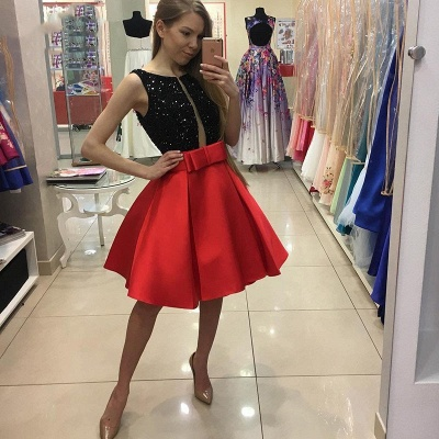 Black Red Cocktail Dresses Short Cheap A Line Party Dresses Prom Dresses_2