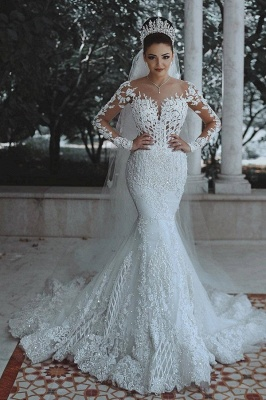 Luxury wedding dresses lace white wedding dresses with sleeves veil