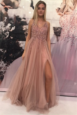 Plain prom dresses long cheap tulle floor-length evening dresses prom dresses_1