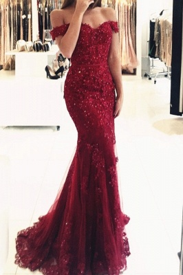 Red Evening Dresses Long Cheap Lace Off Shoulder Mermaid Evening Wear_1