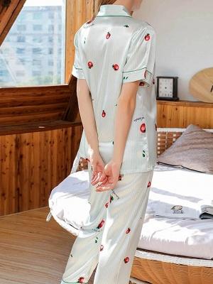 Damen Schlafanzug Lang | 2 Teiller Satin Nachtwäsche_2