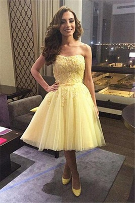 Yellow Cocktail Dresses Prom Dresses Short Lace Beaded Tulle Evening Wear_1