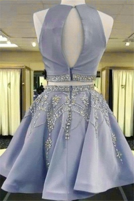 2 Piece Cheap Cocktail Dresses Blue A Line Evening Dresses Short Elegant_2