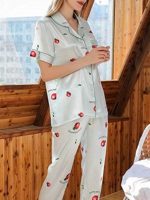 Damen Schlafanzug Lang | 2 Teiller Satin Nachtwäsche_3