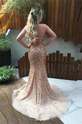 Luxurious Golder Abendkleider Lang Meerjungfrau Perlen Abschlussballkleider Abendmoden_3