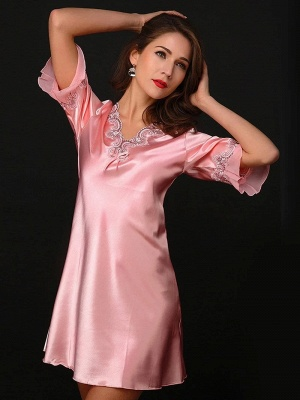 Pink one piece pajamas | Mey pajamas women_3