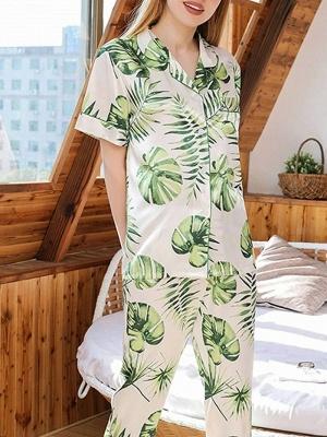 Damen Schlafanzug Lang | 2 Teiller Satin Nachtwäsche_5
