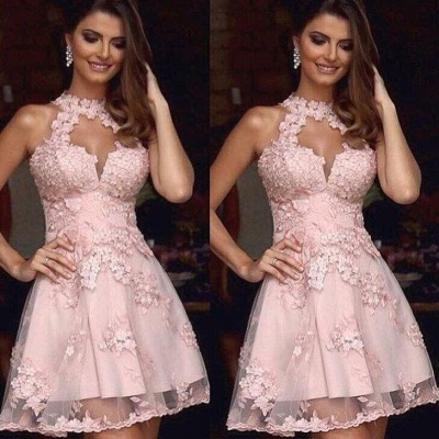 Pink Cocktail Dresses Short Cheap Lace A Line Mini Evening Dress Prom Dresses_2