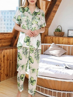 Damen Schlafanzug Lang | 2 Teiller Satin Nachtwäsche_4