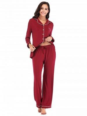 Weinrot Schlafanzüge Damen Lang | Nachtwäsche Pyjama Günstig_3